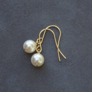 Shop Pearl Earrings! Gold Pearl Drop Earrings, Cream Pearl Bridal Jewelry, Drop Pearl Earrings, Dangle Bridesmaid Earrings | Natural genuine Pearl earrings. Buy handcrafted artisan wedding jewelry.  Unique handmade bridal jewelry gift ideas. #jewelry #beadedearrings #gift #crystaljewelry #shopping #handmadejewelry #wedding #bridal #earrings #affiliate #ad