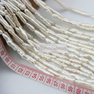 Long Stick Pearl Beads, White/ Gray Spike Natural Fresh Water Pearl Beads For Necklace Bracelet Making (xmz31)