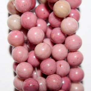 "Shop Rhodonite Beads! Genuine Rhodonite Beads – Round 6 mm Gemstone Beads – Full Strand 15 1/2"", 58 beads, A+ Quality 