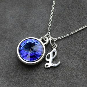 September Birthstone Necklace, Personalized Initial Jewelry, Sapphire Silver Letter Necklace, New Mom Necklace