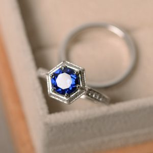 Shop Unique Sapphire Engagement Rings! Lab sapphire ring, promise, sterling silver, September birthstone, engagement ring | Natural genuine Sapphire rings, simple unique alternative gemstone engagement rings. #rings #jewelry #bridal #wedding #jewelryaccessories #engagementrings #weddingideas #affiliate #ad