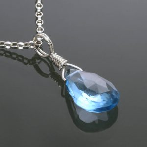 Swiss Blue Topaz Necklace.. Sterling Silver. Genuine Gemstone. December Birthstone. Wire Wrapped Pendant. S15n011