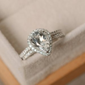 White Topaz Engagement Ring, Pear Cut, Sterling Silver