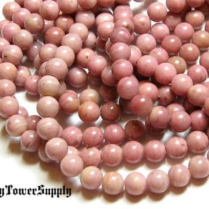 1 Strand 6mm Rhodonite Beads, Gemstone Beads, Semiprecious Beads, Natural Stone Beads, Pink Beads, Round Beads