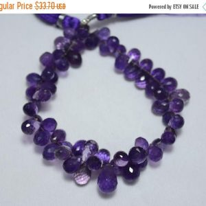 50% Discount Amethyst Tear Drops Briolettes, Faceted Tear Drops Beads Gemstone For Jewelry, 6x9mm – 8x11mm Approx, 7 Inch Strand