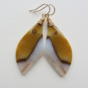 Agate Statement Earrings With Yellow And White Handmade In Seattle Gold Filled Jewelry For Her Smooth Natural Gemstone