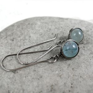 Shop Aquamarine Earrings! Aquamarine Earrings, Sterling Silver Earrings, March Birthstone, Dangle earrings, Gemstone Earrings, Throat Chakra, Bride Earrings, Gift | Natural genuine Aquamarine earrings. Buy crystal jewelry, handmade handcrafted artisan jewelry for women.  Unique handmade gift ideas. #jewelry #beadedearrings #beadedjewelry #gift #shopping #handmadejewelry #fashion #style #product #earrings #affiliate #ad