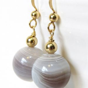 Botswana Agate Earrings With Gold Filled Hooks And Beads, Warm Color Semi-precious Stone Drop Earrings, Handmade Earth Tone Jewelry