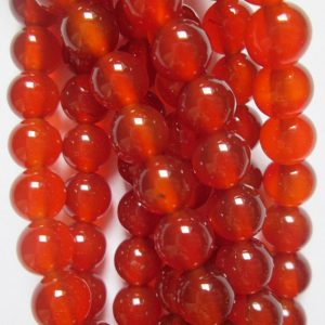 "Shop Carnelian Beads! Carnelian Beads – Round 6 mm Gemstone Beads – Full Strand 15"", 63 beads, AA Quality 