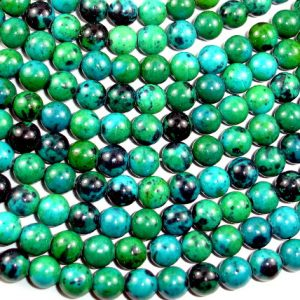 Chrysocolla, 8mm(8.5mm) Round Beads, 15.5 Inch, Full strand, Approx 48 beads, Hole 1 mm, A quality,Reconstituted (196054008) | Natural genuine round Chrysocolla beads for beading and jewelry making.  #jewelry #beads #beadedjewelry #diyjewelry #jewelrymaking #beadstore #beading #affiliate #ad