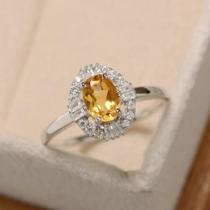 Citrine Ring, Natural Crystal Ring, Yellow Quartz Ring, Delicate Ring