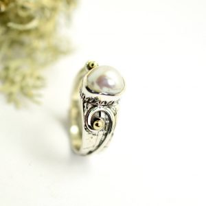 Free Form Ring Sterling Silver Pearl Ring, Handmade Freshwater Oval Pearl Silver And Gold Ring Size 7 Artisan Jewelry, Gift For Her