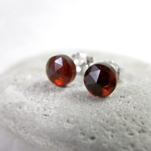 Garnet Stud Earrings, January Birthstone, Rose Cut Stones, Passion / Love, Simple, Small, Posts, Sterling Silver, 14k Gold Fill, Base Chakra