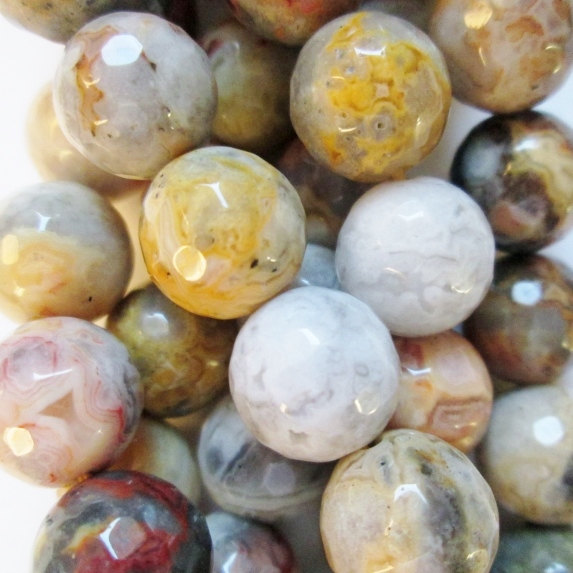 "Genuine Faceted Crazy Lace Agate  Beads - Round 10 Mm Gemstone Beads - Full Strand 15"", 37 Beads, A Quality"