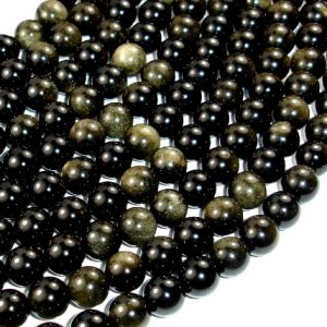 Shop Golden Obsidian Beads! Golden Obsidian, Round, 10mm Beads, 15.5 Inch, Full Strand, Approx 37 Beads, Hole 1 Mm, A Quality (239054002) | Natural genuine round Golden Obsidian beads for beading and jewelry making.  #jewelry #beads #beadedjewelry #diyjewelry #jewelrymaking #beadstore #beading #affiliate #ad