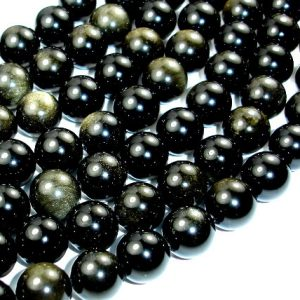 Shop Golden Obsidian Beads! Golden Obsidian, Round, 12mm beads, 15 Inch, Full strand, Approx 32 beads, Hole 1 mm, A quality (239054004) | Natural genuine round Golden Obsidian beads for beading and jewelry making.  #jewelry #beads #beadedjewelry #diyjewelry #jewelrymaking #beadstore #beading #affiliate #ad