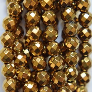 "Faceted Hematite Round Beads 6 Mm, Gold Hematite – Full Strand 15 1/2"", 69 Beads, Aa – Quality"