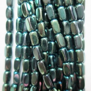 "Hematite Faceted Tube Beads 2 X 4 Mm – Full Strand 16"", 112 Beads, Aa – Quality, Item 43"