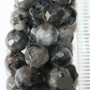 "Genuine Faceted Larvikite, Black Labradorite – Faceted Round 6 mm Gemstone Beads – Full Strand 15"", 57 beads, AA Quality 