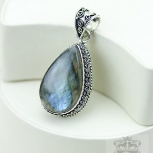 Labradorite Vintage Filigree Setting 925 S0lid Sterling Silver Pendant + 4mm Snake Chain & Free Shipping P3272