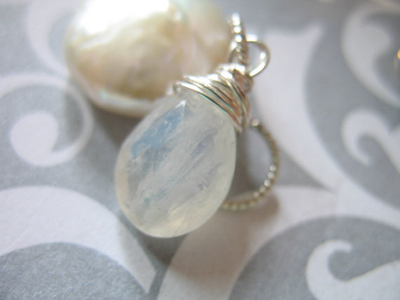 Moonstone Pendant Charm Add A Dangle Drop / Sterling Silver Or Gold Fill / Pear, 18-22 Mm, June Birthstone Brides Bridal Gift Gemdone Gd2