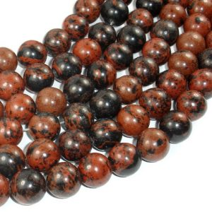 Shop Obsidian Beads! Mahogany Obsidian Beads, 14mm Round Beads, 16 Inch, Full Strand, Approx 29 Beads, Hole 1.2 Mm, A Quality (311054010) | Natural genuine beads Obsidian beads for beading and jewelry making.  #jewelry #beads #beadedjewelry #diyjewelry #jewelrymaking #beadstore #beading #affiliate #ad