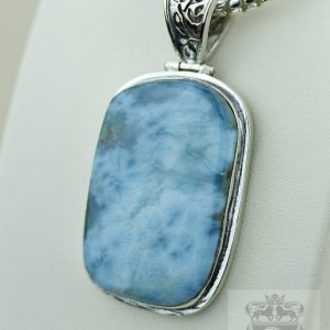 Ocean Blue Caribbean Larimar 925 Solid Silver Pendant & 4mm Snake Chain P2137