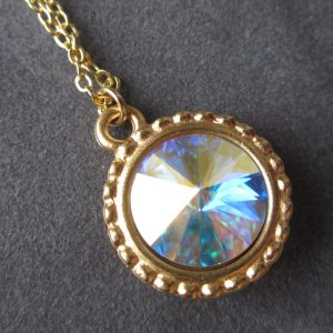 October Birthstone Necklace, Aurora Borealis Crystal Birthstone Jewelry, Gold Opal Necklace