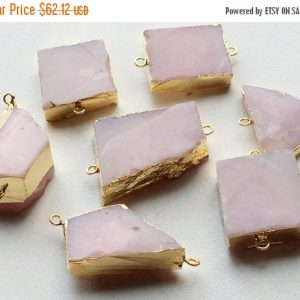 Shop Opal Chip & Nugget Beads! On sale 65% Raw Pink Opal Connectors, Pink Opal Gold Connectors, Rough Pink Opal Gemstone Connector, Double Loop, 2 Pcs, 30-40mm | Natural genuine chip Opal beads for beading and jewelry making.  #jewelry #beads #beadedjewelry #diyjewelry #jewelrymaking #beadstore #beading #affiliate #ad
