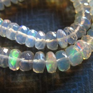 Shop Sale.. 5 10 25 Pc, 3-4 Or 4.5-5.5 Mm, Ethiopian Opal Rondelles, Wello Welo Opal Beads, Luxe Aaa, Faceted, Ethiopian Opal Beads, White