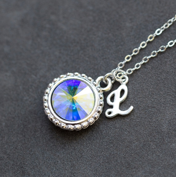 Opal Birthstone Necklace, October Birthstone Jewelry, Opal Crystal, New Mother's Necklace, Personalized Initial Necklace