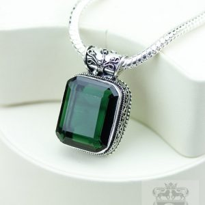 Radiant Cut 27.3 Carats Irradiated Emerald  Vintage Style Setting 925 S0lid Sterling Silver Pendant + 4mm Snake Chain & Free Shipping P3244