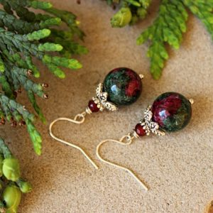 Ruby Zoisite Earrings, Fertility Earrings, Ruby Zoisite Jewelry, Zoisite Healing Earrings, Conceive Jewelry, Pregnancy Jewelry, Ruby Zoisite