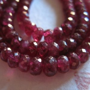 Shop Ruby Faceted Beads! 5-50 Pcs / Ruby Rondelle Beads Loose Gems, 3-4 Mm Deep Cranberry Red Faceted Roundels Rondells, Birthstone Gemstone Tr R Solo 34 Ox Nd | Natural genuine faceted Ruby beads for beading and jewelry making.  #jewelry #beads #beadedjewelry #diyjewelry #jewelrymaking #beadstore #beading #affiliate #ad