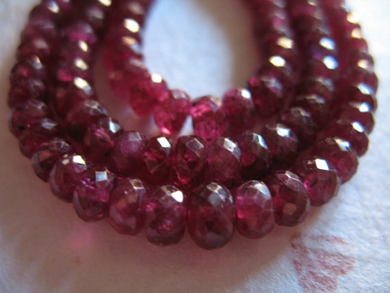 5-50 Pcs / Ruby Rondelle Beads Loose Gems, 3-4 Mm Deep Cranberry Red Faceted Roundels Rondells, Birthstone Gemstone Tr R Solo 34 Ox Nd