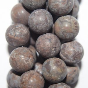 "Shop Snowflake Obsidian Beads! Genuine Matte Obsidian Beads, Brown Snowflake Obsidian – Round 10 mm Gemstone Beads – Full Strand 15 1/2"", 37 beads, A Quality 