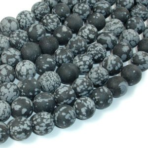 Shop Snowflake Obsidian Round Beads! Matte Snowflake Obsidian, 10mm (10.5mm) Round Beads, 15 Inch, Full Strand, Approx 38 Beads, Hole 1 Mm, A Quality (410054010) | Natural genuine round Snowflake Obsidian beads for beading and jewelry making.  #jewelry #beads #beadedjewelry #diyjewelry #jewelrymaking #beadstore #beading #affiliate #ad
