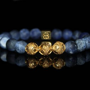 Shop Sodalite Jewelry! Sodalite Bracelet, Men's Sodalite and Gold Bracelet, Men's Designer Bracelet, Men's Luxury Bracelet, Men's Bracelet, Men's Bracelet | Natural genuine Sodalite jewelry. Buy crystal jewelry, handmade handcrafted artisan jewelry for women.  Unique handmade gift ideas. #jewelry #beadedjewelry #beadedjewelry #gift #shopping #handmadejewelry #fashion #style #product #jewelry #affiliate #ad