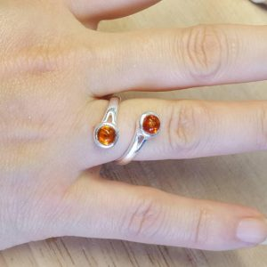 Bypass Amber Ring. 925 Sterling Silver. Reiki Jewelry. Adjustable Ring Uk. 5mm 2 Stone Ring