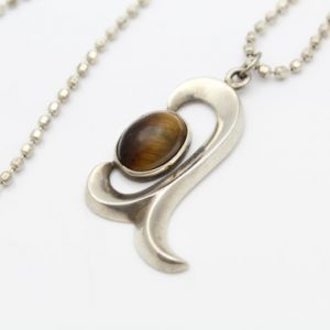 """Vintage Scroll Pendant With Tigers Eye And 20"""" Faceted Ball Chain Sterling Silver. [9412]"""