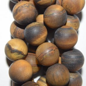 "Shop Tiger Eye Round Beads! Genuine Matte Tiger Eye Beads – Round 10 mm Gemstone Beads – Full Strand 15 1/2"", 38 beads, AA Quality 
