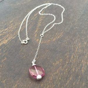 Pink Topaz Necklace – Pink Topaz Jewelry – Gemstone Jewellery – Sterling Silver Chain – Luxe – Pendant
