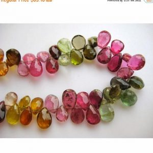 On Sale 55% Tourmaline Beads/multi Tourmaline/gemstone Beads/pear Beads/faceted Gemstones/approx 4x6mm/40 Pieces Approx/3.5 Inch Half Strand