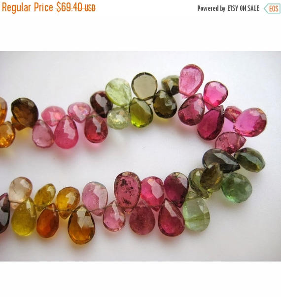 4x6-5x7mm Multi Tourmaline Faceted Pear Beads, Multi Tourmaline Faceted Gemstones, Tourmaline Pear Bead For Jewelry (25pcs To 50pcs Options)