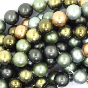 "8mm Multicolor Shell Pearl Round Beads 16"" Strand S1 37071"