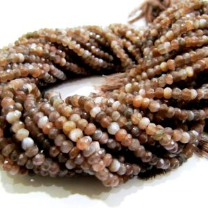 AAA Quality Chocolate Moonstone Rondelle faceted Beads 4mm size approx. Strand 13 inch long, Semi Precious gemstones, Sold Per Strand