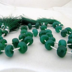 """Aaa Quality Green Onyx Rondelle 10 To 12mm Beads Strand 9"""" Long Apprx You Choose Plain Smooth Beads- Wholesale Rate With Tassle"""