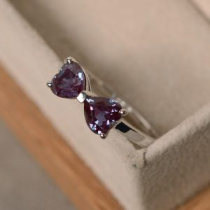 Double Alexandrite Ring, Heart Cut, Sterling Silver, Promise Ring