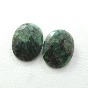 Amazing 2 Pieces Natural Emerald One Side Rose Cut Oval Shape Slice, 22×17.5 Mm, Loose Gemstone Slice, Aaa Grade Quality #1746