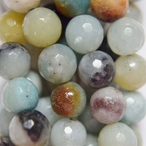 "Shop Amazonite Faceted Beads! Genuine Amazonite faceted Beads – Round 8 mm Gemstone Beads – Full Strand 15 1/2"", 46 beads, A-Quality 
